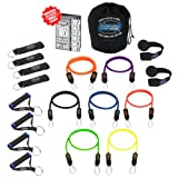 Bodylastics 19 pcs Resistance Bands *STRONG MAN STACKABLE Set (202 lbs.) with 7 anti-snap exercise tubes, Heavy Duty components, carrying case, and 3x4 ft. wall chart with over 100 exercisesby Bodylastics