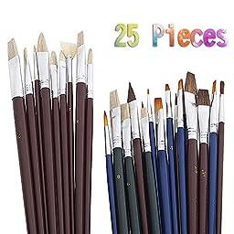 BA-SAFE Paint Brush Set Acrylic Artist Brush Set, Pack of 25