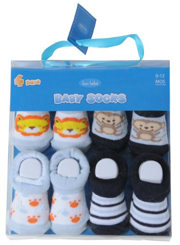 Bon Bebe 4 pack Infant Booties Gift Set - Boy/Girl Designs (0-12 Months)-Boy/Monkey
