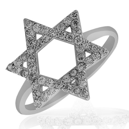 .925 Sterling Silver Classic White Crystals Cz Womens Girls Jewish Star Of David Ring Band (7)
