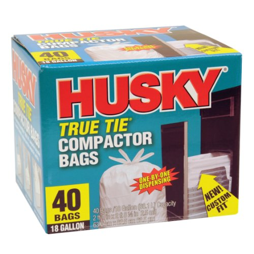 Husky HK18WC040W 18-Gallon True Tie Compactor Bags, 40 Count