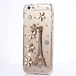 iPod Touch (6th Generation) Case, STENES Luxurious Crystal 3D Handmade Sparkle Diamond Rhinestone Clear Cover with Retro Bowknot Anti Dust Plug - Eiffel Tower Flowers / Clear