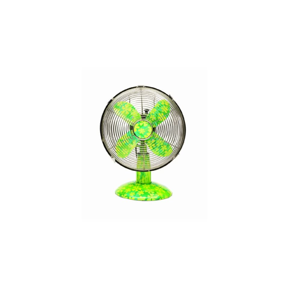 Deco Breeze Colored Metal Fan with Flowers