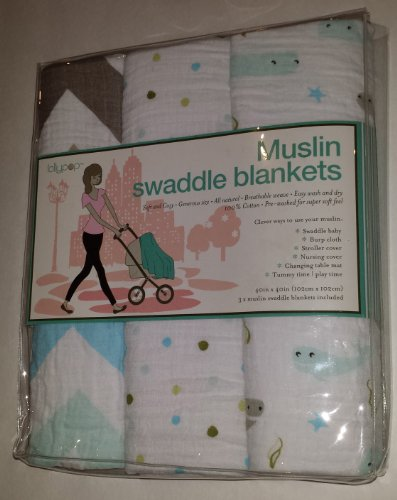Blue Muslin Swaddle Blankets 3 pack - Stripes/Polka Dots/Whales - Lollypop
