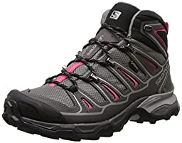 Salomon Women\'s X Ultra Mid 2 GTX Hiking Shoe, Detroit/Autobahn/Hot Pink, 5 M US