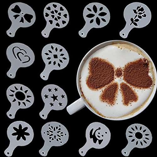 Bargain World 12 pcs latte moule de cappuccino décoration outil latte art pochoirs à café en plastique