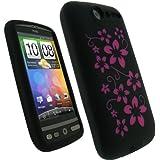 igadgitz Silikon Schutzhülle Hülle Tasche Etui Skin Case in Schwarz mit Motif Blumen in Farbe Pink Rosa für HTC Desire Bravo G7 Android Smartphone Handy + Display Schutzfolie
