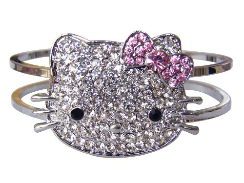 Sparkling Kitty Face Bangle Bracelet With Pink Bow-Silver Tone