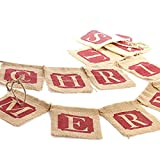 Tinksky Merry Christmas Burlap Banners Garlands for Holiday Party Decoration