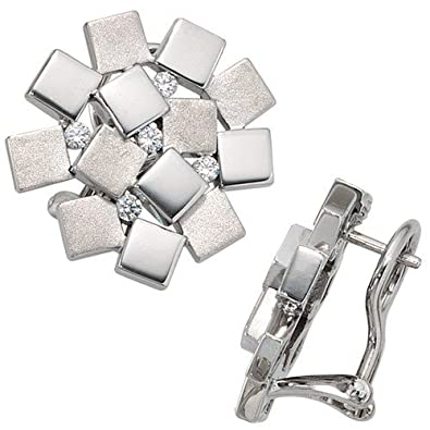 Stud Earrings with 10 Zirconia Women's 925 Silver Partially Matted