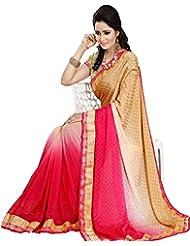 Shree Sanskruti Self Design Pink Bollywood Georgette Sari