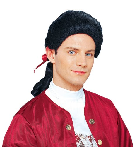 Colonial Duke with Bow black Colonial Costume Wig