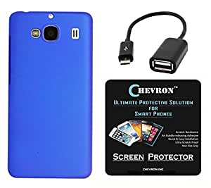 Chevron Matte Finish Back Cover Case for Mi Redmi 2 Prime with HD Screen Guard & Micro OTG Cable (Deep Blue)