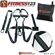 Buy Authentic Fitness123 Suspension Body Trainer | Suspension Straps | Resistance training | Suspension Trainer | Complete Black Edition Comparison-image