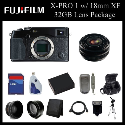 Fujifilm X-Pro 1 Digital Camera w/ 18mm f/2.0 XF R Lens - 16225391 - 32GB Digital Camera Lens Package