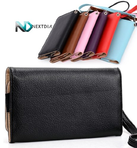 Huawei Ascend D Quad Xl Black Epi Leather Bifold Wristlet Travel Wallet Case And A Complimentary Nextdia ™ Velcro Cable Wrap
