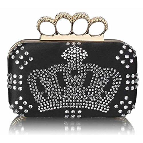 Ladies Black Crown Design Diamantes Designer Evening Clutch Bag KCMODE