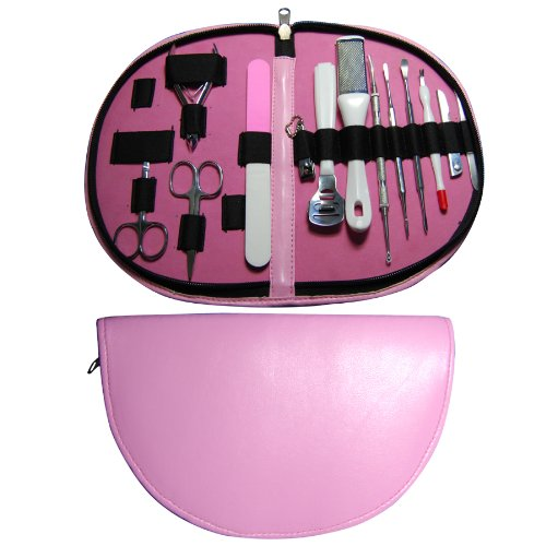 MP13a-Glow Professional Pink 13 Piece Pedicure, Manicure and Comedone Extractor/ Blackhead Remover Set includes Black Head Remover, Slant Tip Tweezer, Nail Buffer, Foot Buffer and Smoother, Hard Skin /Corn /Callus Shaver / Remover, Nail Files, Cuticle Nip