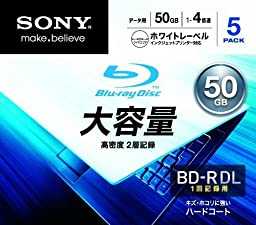 Sony Blu-ray Recordable Disc for PC Data | BD-R 50GB 4x Ink-jet Printable 5 Pack | 5BNR2DCPS4 (Japanese Import)