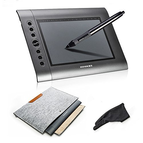 HUION H610 Graphics Drawing Tablet + Anti-fouling Golve + 15 Inch Wool Felt Liner Bag (Drawing Pad For Laptop compare prices)