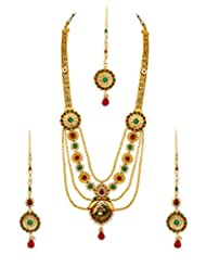 Voylla Gold Plated Maang Tikka Set With Peacock Design
