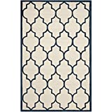 Safavieh Cambridge Collection CAM134Z Handmade Ivory and Navy Wool Area Rug, 9 feet by 12 feet (9' x 12')