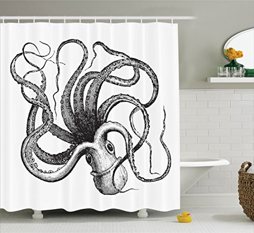 Sail Boat Waves And Octopus Shower CurtainCheck Online Price Sealife Sea Monster Kraken With Tentacles