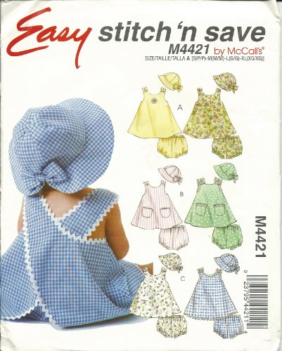 Stitch'N Save 4421 Sewing Pattern Baby Girl Dress Panties Hat Size S-Xl front-942674