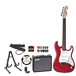 fender 028 0001 540 amp kit squier fiesta red electric guitar with amplifier cable. Black Bedroom Furniture Sets. Home Design Ideas