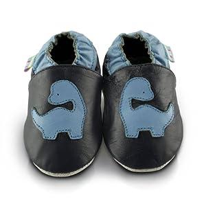 Snuggle Feet - Suaves Zapatos De Cuero Del Bebé Dinosaurio Azul