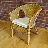 Home & Garden Direct Hand Woven Wicker Rattan Bedroom Chair Seat Honey Colour