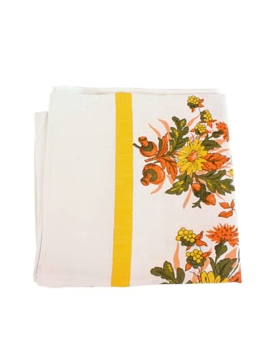 Mushroom & Floral Tablecloth, Cream/Yellow/Orange/Green