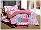 Bellagio Elite Collection Cotton 1 Double Bed Sheet & 2 Pillow Covers (White and Pink)
