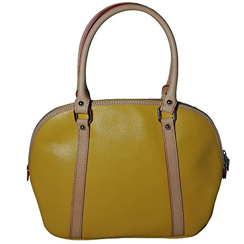 Giulia Yellow Leather Bowling Bag With Beige And Red Trim