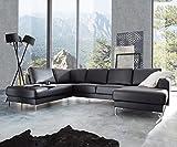 Couch Silas Schwarz 300x200 cm Ottomane Links Designer...