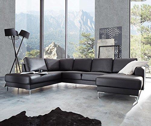 Couch-Silas-Schwarz-300x200-cm-Ottomane-Links-Designer-Wohnlandschaft