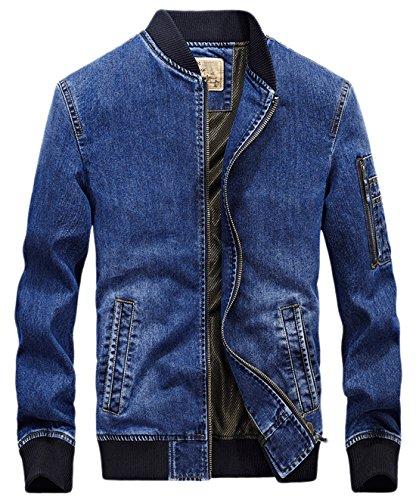 Chouyatou Men's Active Zipper-Front Lightweight Denim Varsity Jacket Embroidery (Small, Blue)