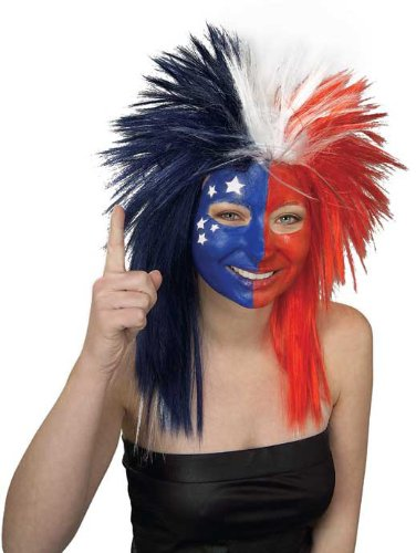 Rubie's Costume Red White and Blue Sports Fan Wig, Multicolored, One Size