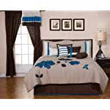7-pieces Blue Brown Applique Flower Comforter Set Bed-in-a-bag Full Or Double Size Bedding