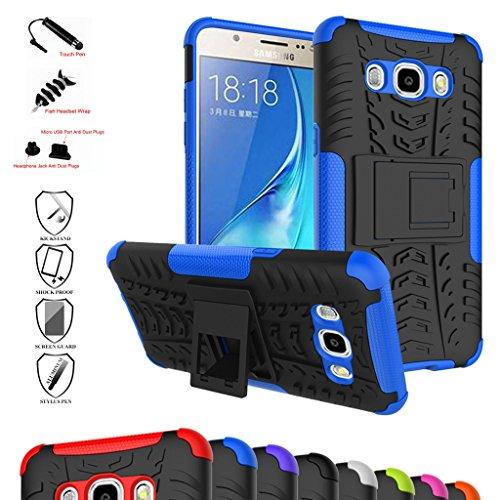 Galaxy J5 2016 Custodia, Mama Mouth Duro Shock Proof copertura Rugged Heavy Duty Antiurto in Piedi Custodia caso Case per Samsung Galaxy J5 J510 2016 Smartphone,Blu