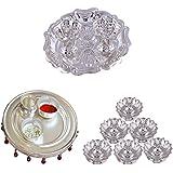 GS MUSEUM Silver Plated Rani Kumkum Plate, Silver Plated 4 Inchi Pooja Thali Nag And Silver Plated Set Of 6 Lotus...