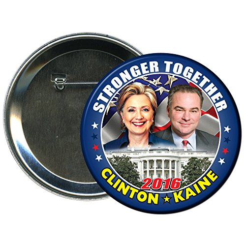 Hillary Clinton and Tim Kaine Round 2016 Campaign Button 3 (Election Buttons compare prices)