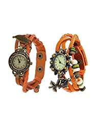 Eleganzza Beige Rose And Leaf Analogue Watch For Women Pack Of Two (orange)
