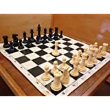 Quadruple Weight Tournament Natural Chess Set with Black Board