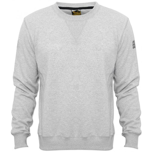 Drunknmunky Mens Grey D6931 Jumper Elasticate Cuffs and Waistband Crew Neck NEW Grey X-Large