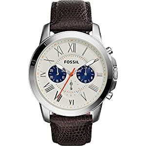 Fossil Men's FS5021 Grant Stainless Steel Watch with Black Leather Band