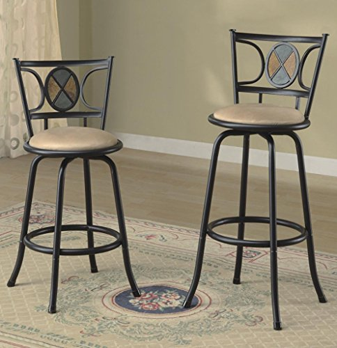 "Black Finish Swivel Barstool With Adjustable Height 24""-29"", Set Of 2 front-726831"