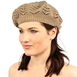 Light Soft Thin Summer Vent Cut Out Stretch Knit Beret Beanie Hat Cap Tam Taupe