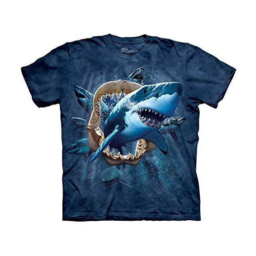 The Mountain Kids Shark Attack T-Shirt, Medium, Blue/Gray (Shark Tees compare prices)
