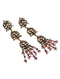 36.00 Grams White Cubic Zirconia & Pink Glass Gold Plated Brass Victorian Earrings